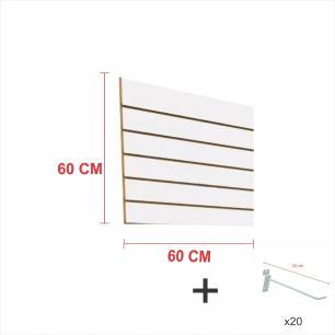 Expositor canaletado branco alt 60 cm comp 60 cm mais 20 ganchos 20 cm