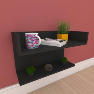 Mesa de cabeceira suspensa com prateleiras em mdf preto