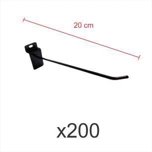 kit para expositor com 200 ganchos 4mm preto de 20 cm para painel canaletado