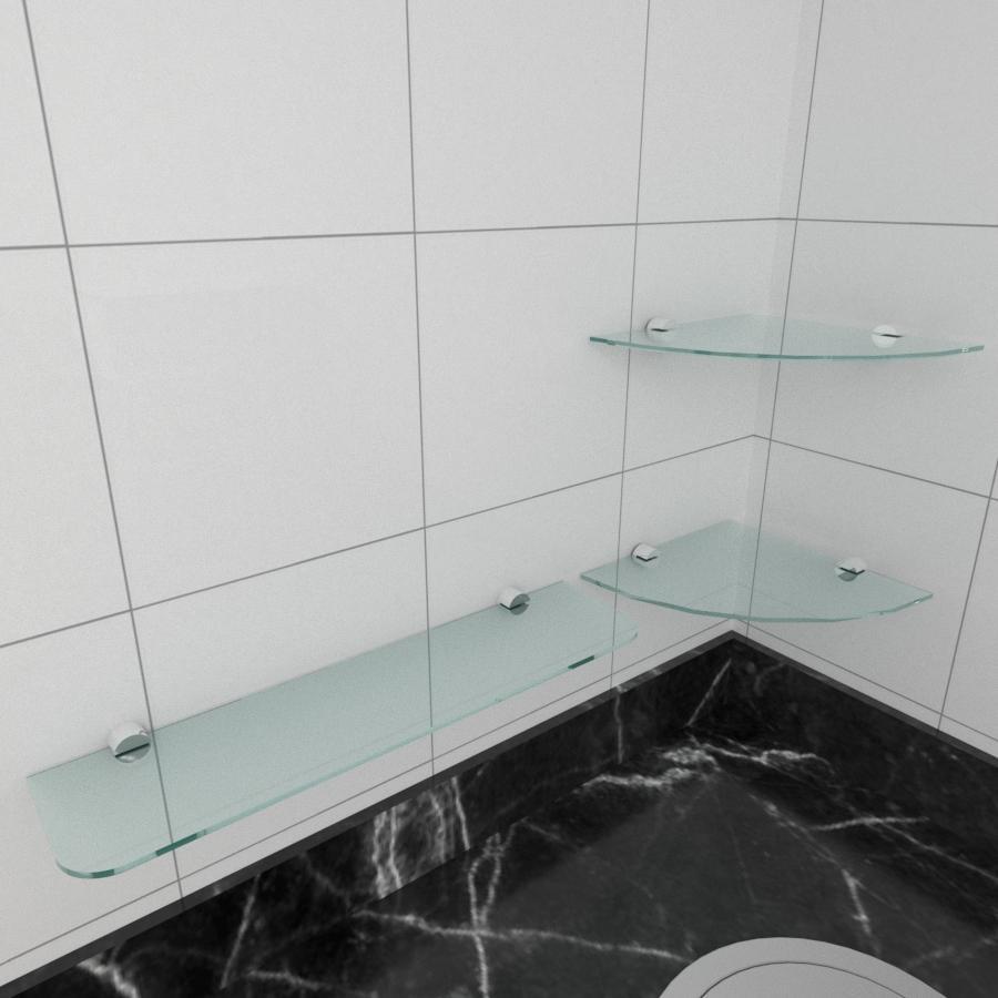 kit com 3 Prateleira de vidro temperado para cozinha 1 de 20 cm para canto e 2 de 40 cm reta