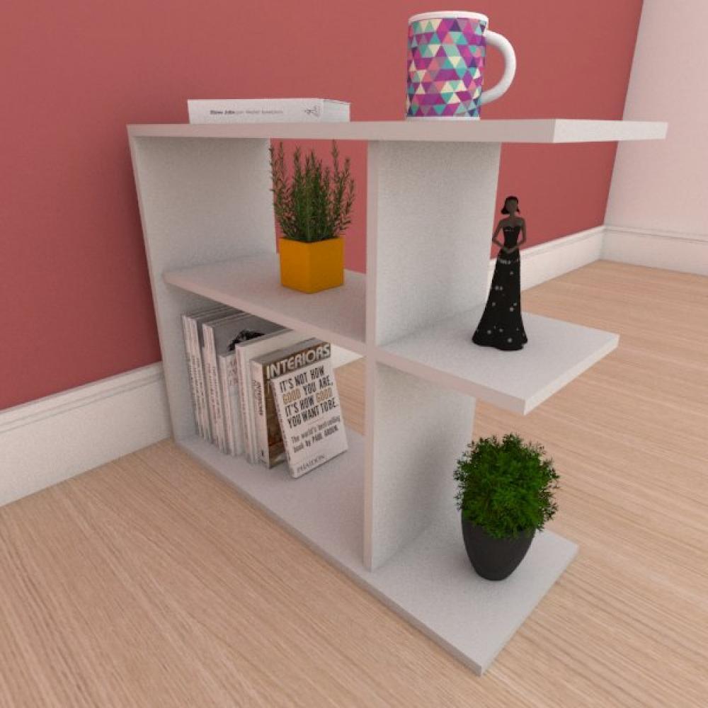 Mesa de cabeceira compacta com prateleira em mdf cinza