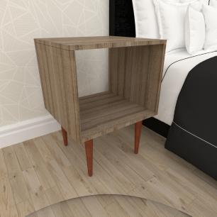 Mesa de Cabeceira nicho em mdf amadeirado escuro com 4 pés retos em madeira maciça cor mogno