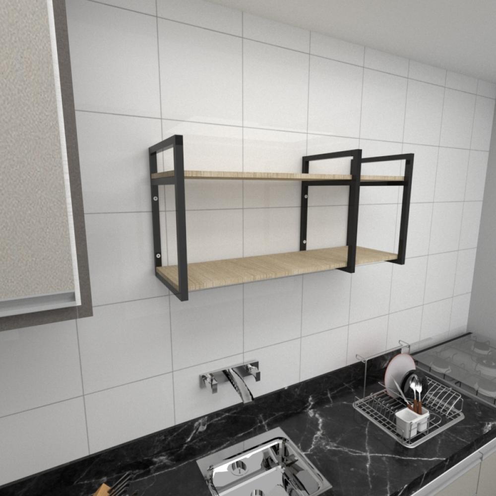 Prateleira industrial para cozinha aço cor preto prateleiras 30cm cor amadeirado claro mod ind21acc