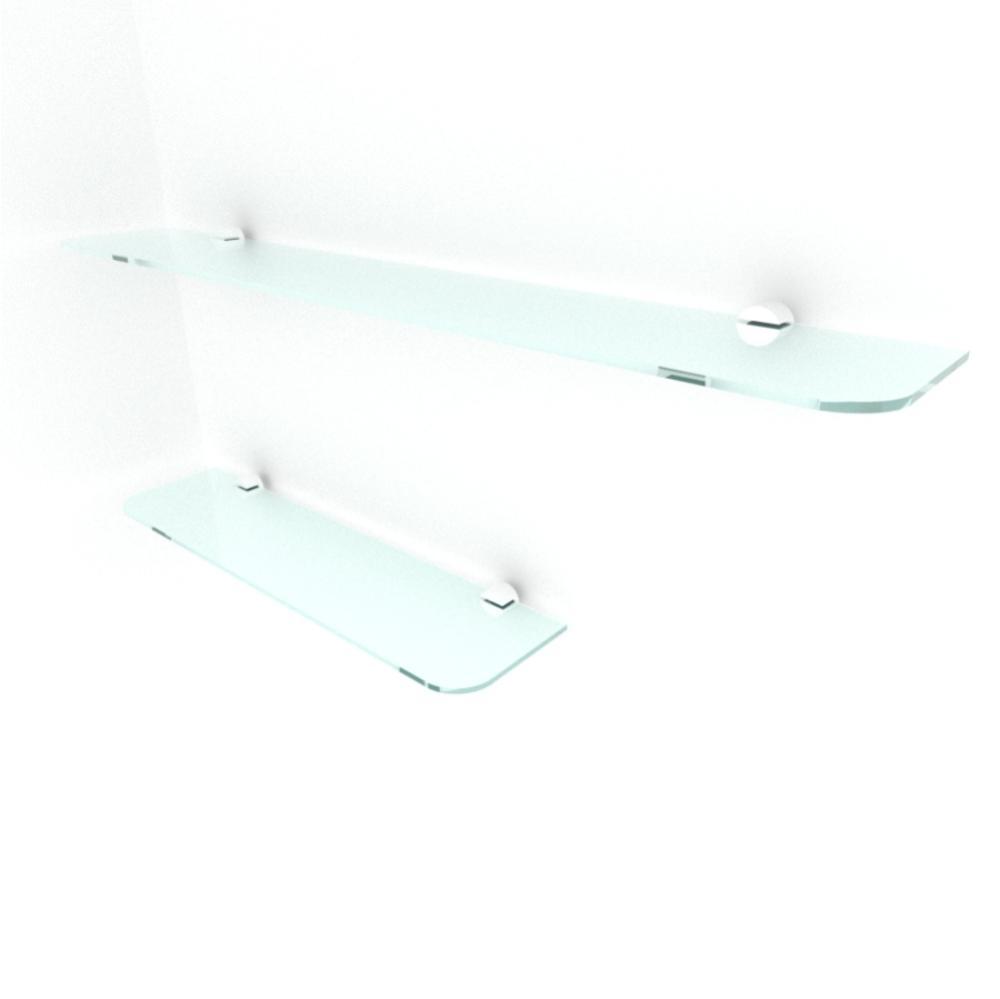 kit com 2 Prateleira de vidro temperado para sala 1 de 40(C)x8(P)cm 1 de 60(C)x8(P)cm