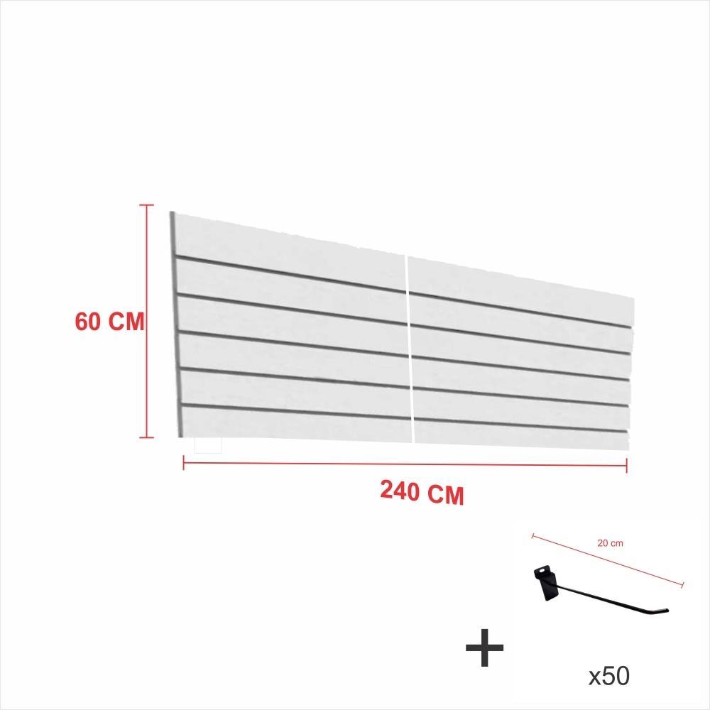 Expositor canaletado cinza alt 60 cm comp 240 cm mais 50 ganchos 20 cm