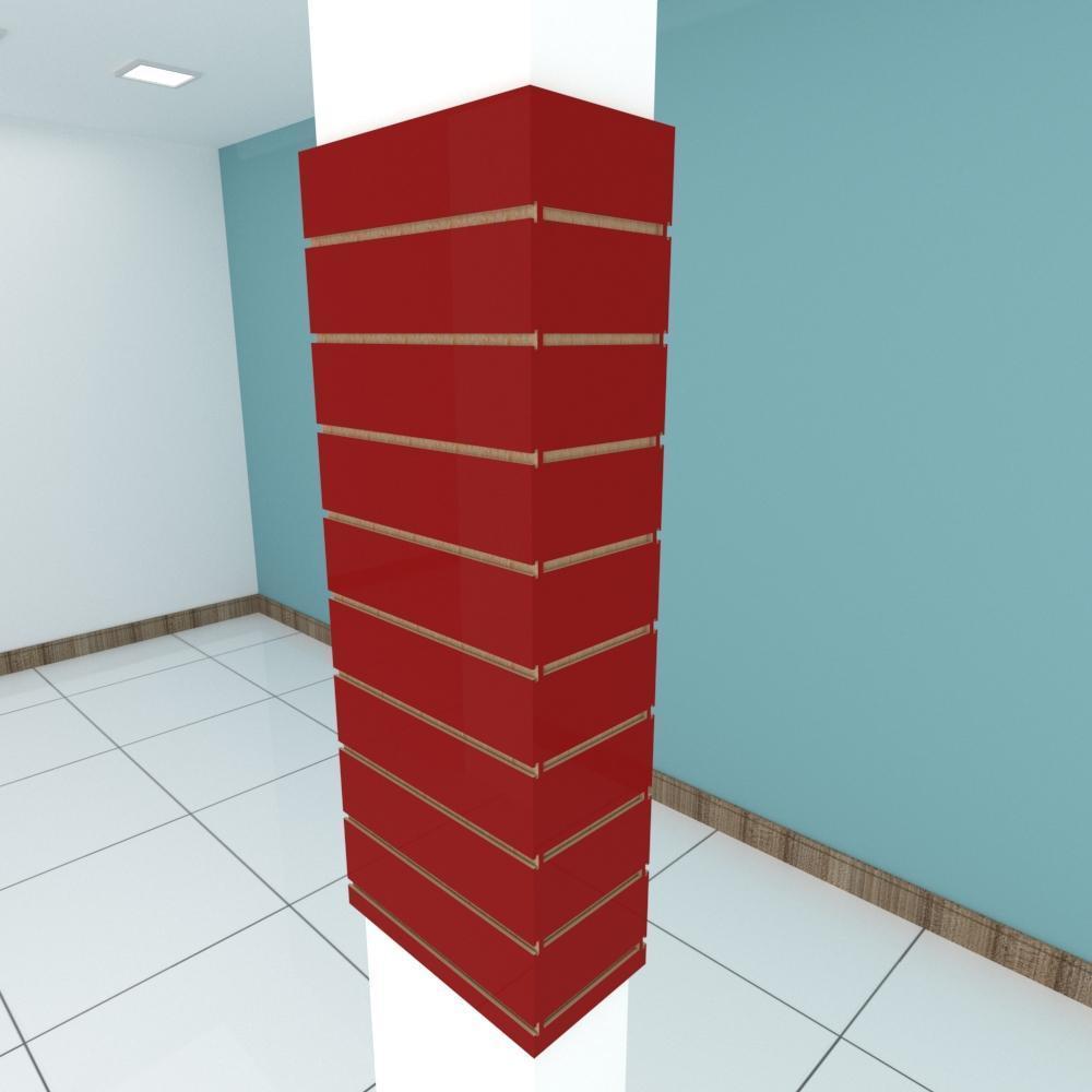 Kit 4 Painel canaletado para pilar vermelho escuro 2 peças 44(L)x120(A)cm + 2 peças 20(L)x120(A)cm