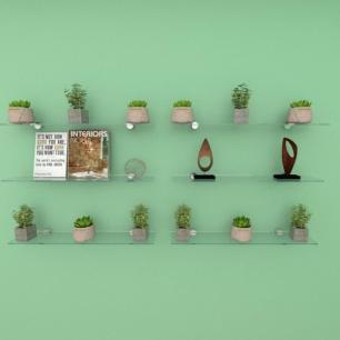 Kit com seis Prateleira para sala 50 cm vidro temperado
