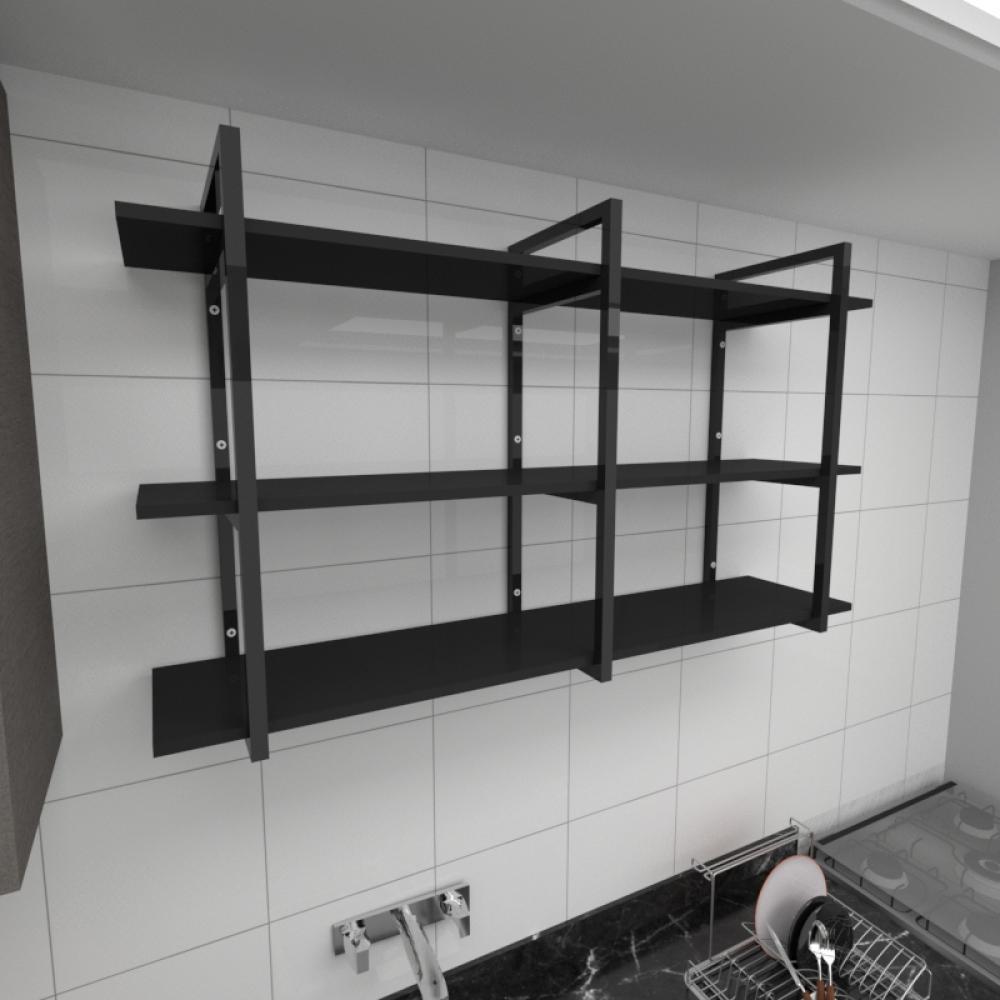 Prateleira industrial para cozinha aço cor preto prateleiras 30cm cor preto modelo ind12pc