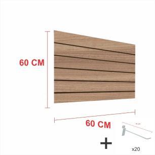 Expositor canaletado amadeirado alt 60 cm comp 60 cm mais 20 ganchos 10 cm