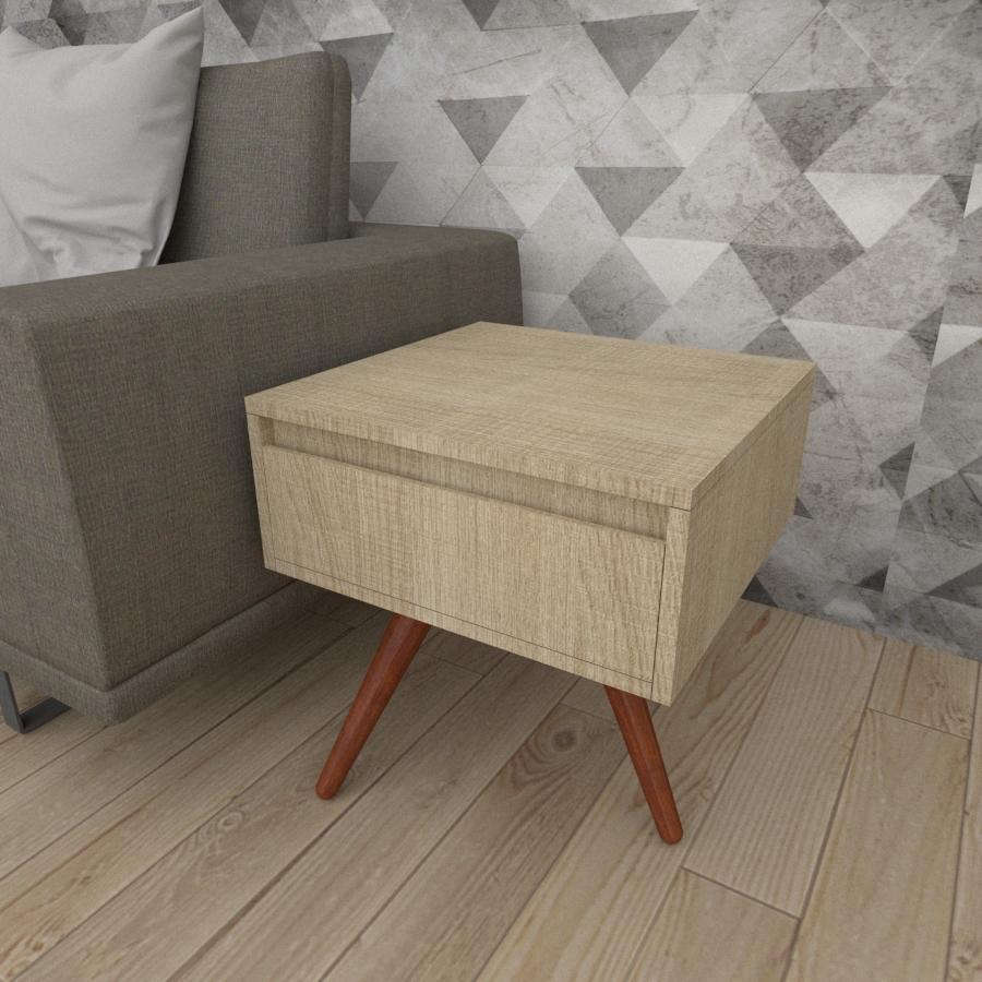 Mesa lateral com gaveta em mdf amadeirado claro com 3 pés inclinados em madeira maciça cor mogno