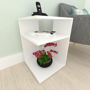 Criado mudo, mesa de cabeceira, em mdf Branco