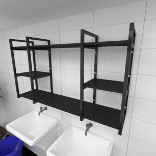 Prateleira industrial para lavanderia aço cor preto prateleiras 30 cm cor preto modelo ind17plav