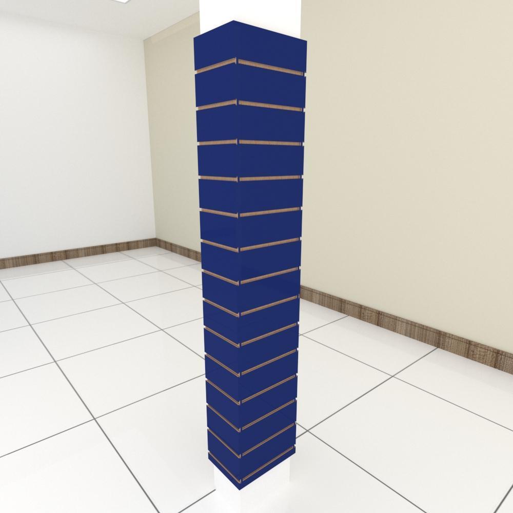 Kit 4 Painel canaletado para pilar azul escuro 2 peças 24(L)x180(A)cm + 2 peças 30(L)x180(A)cm