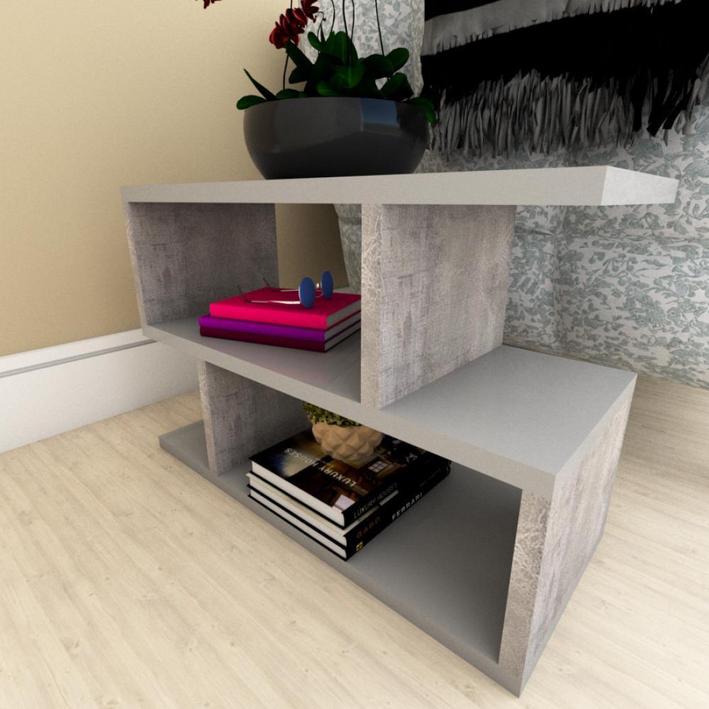 Kit com 2 Mesa de cabeceira cinza com rustico