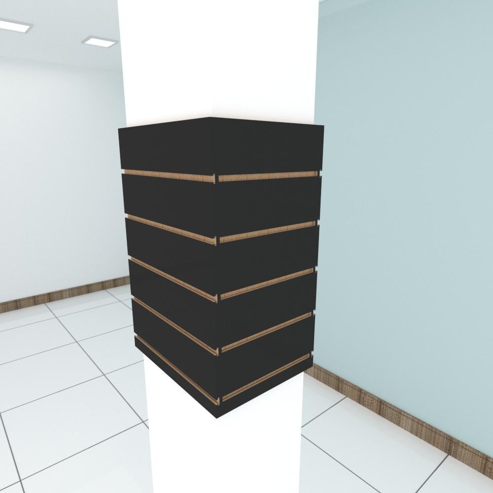Kit 4 Painel canaletado para pilar preto 2 peças 44(L)x60(A)cm + 2 peças 30(L)x60(A)cm