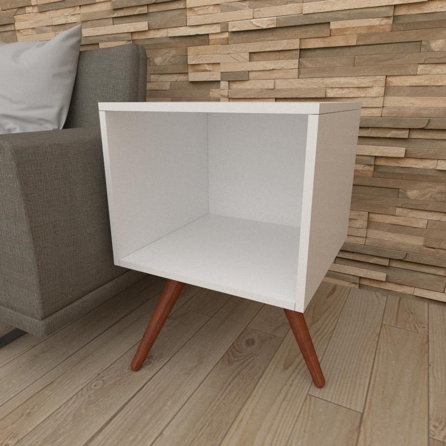 Mesa lateral moderna em mdf branco com 3 pés inclinados em madeira maciça cor mogno
