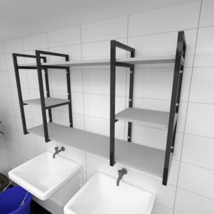 Prateleira industrial para lavanderia aço cor preto prateleiras 30cm cor cinza modelo ind17clav