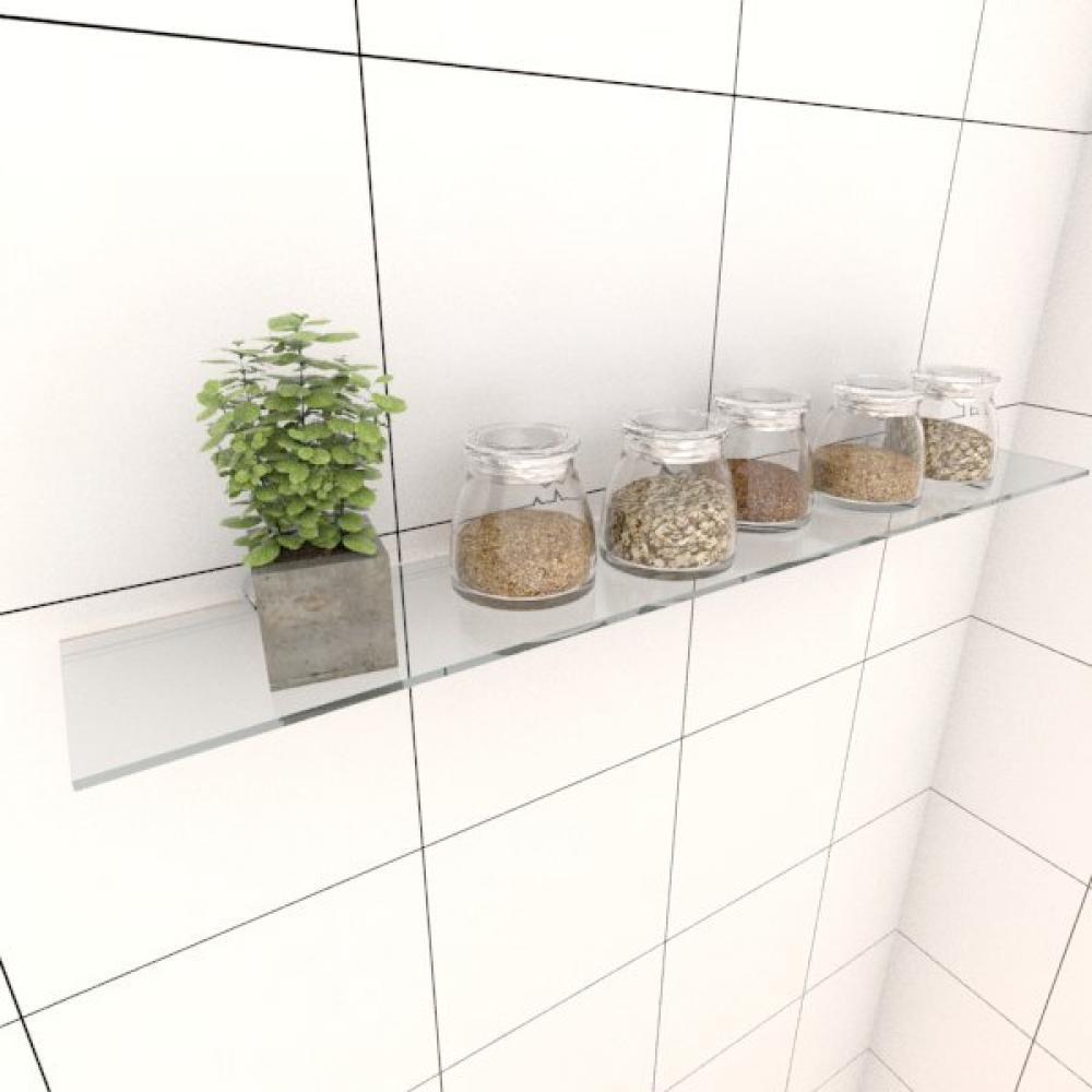 Kit com uma Prateleira para cozinha 60 cm vidro temperado