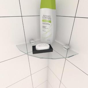Kit com uma Prateleira para banheiro de canto 20 cm vidro temperado