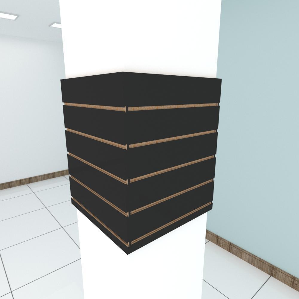 Kit 4 Painel canaletado para pilar preto 2 peças 54(L)x60(A)cm + 2 peças 50(L)x60(A)cm