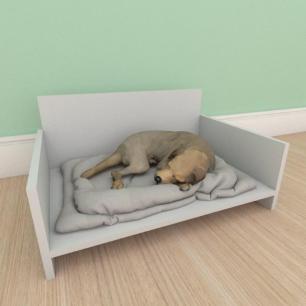 Mesa de cabeceira caminha bercinho pequeno cachorro em mdf cinza