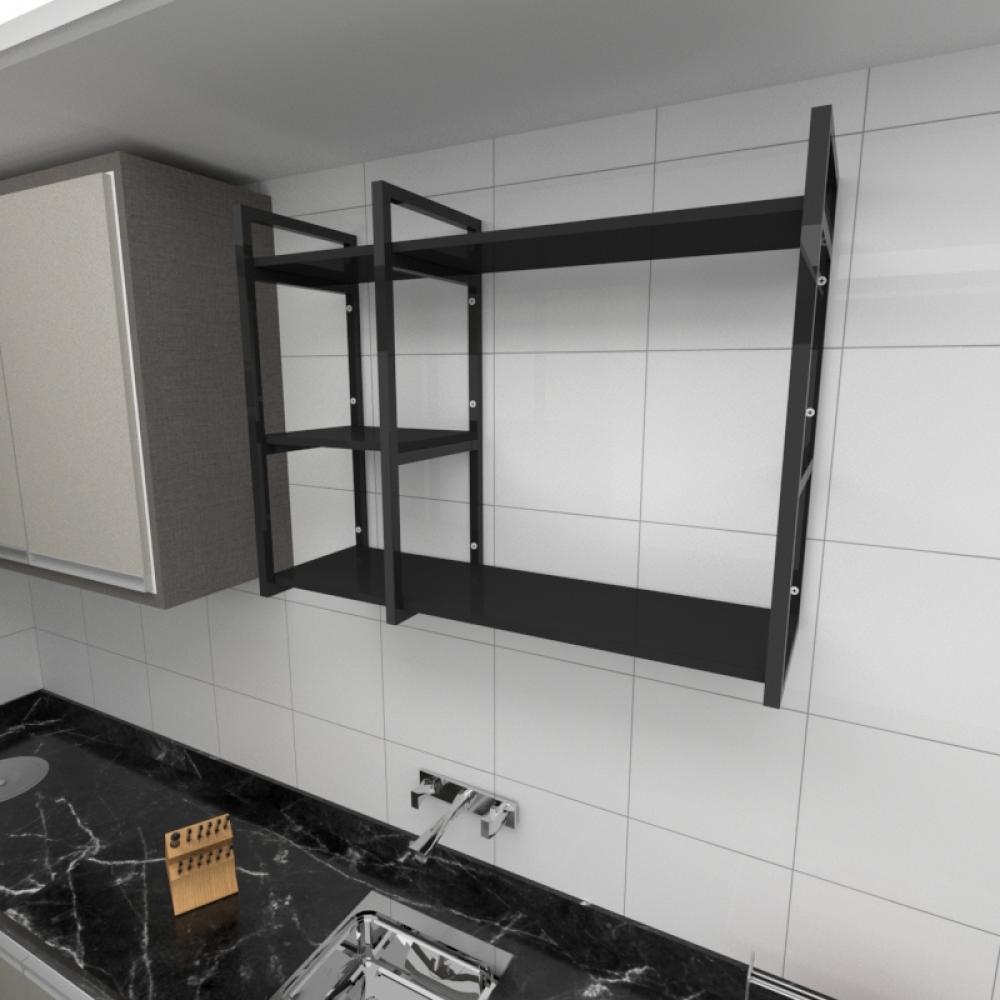 Prateleira industrial para cozinha aço cor preto prateleiras 30cm cor preto modelo ind16pc