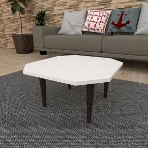 Mesa de Centro octagonal em mdf branco com 4 pés retos em madeira maciça cor tabaco