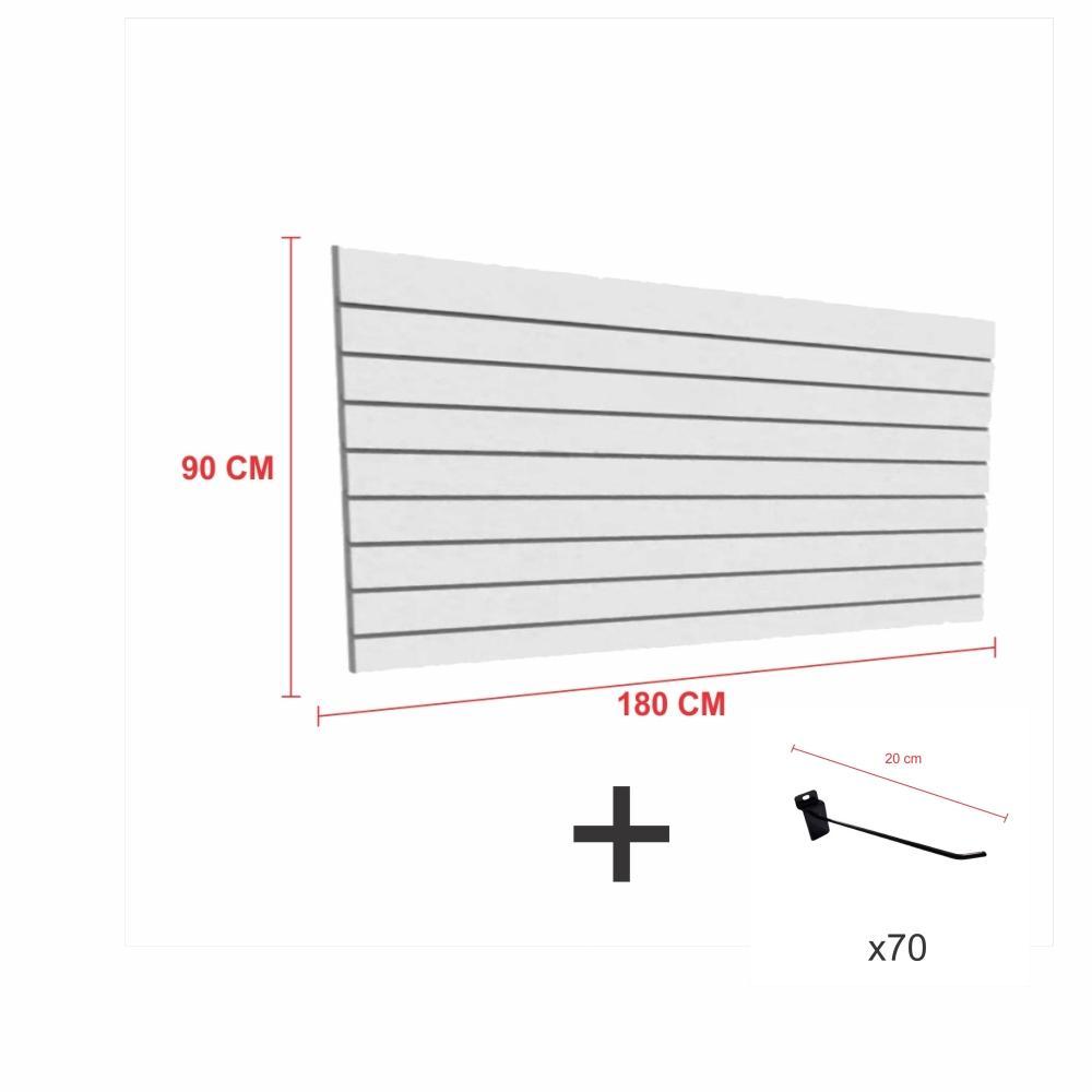 Kit Painel canaletado cinza alt 90 cm comp 180 cm mais 70 ganchos 20 cm