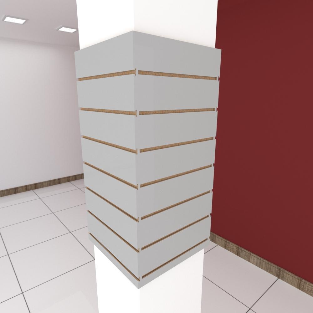 Kit 4 Painel canaletado para pilar cinza cristal 2 peças 44(L)x90(A)cm + 2 peças 40(L)x90(A)cm