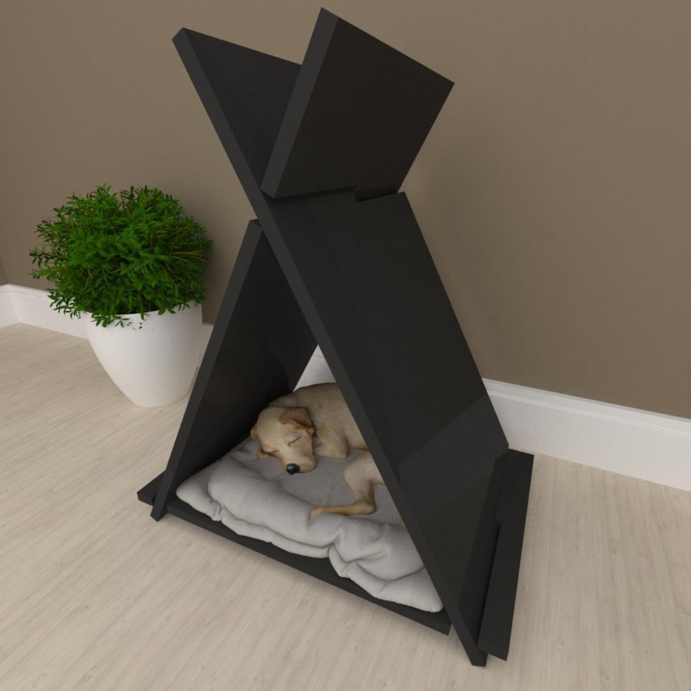 Casinha caminha cachorro cão barraquinha, oca mdf preto
