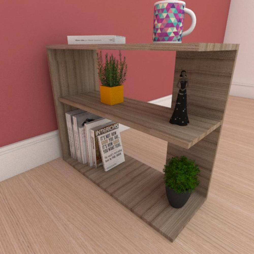 Kit com 2 Mesa de cabeceira com prateleira em mdf amadeirado