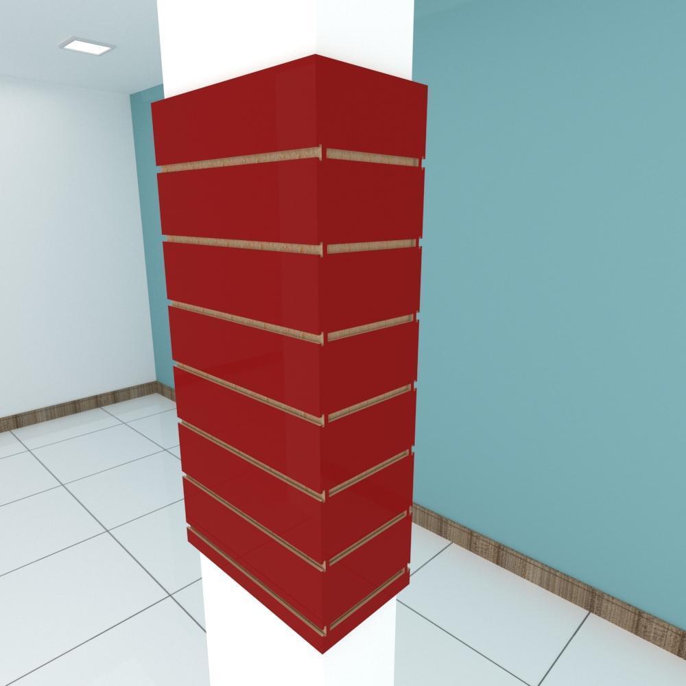 Kit 4 Painel canaletado para pilar vermelho escuro 2 peças 44(L)x90(A)cm + 2 peças 20(L)x90(A)cm