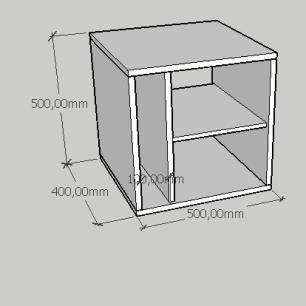 Mesa de centro slim com nichos em mdf amadeirado