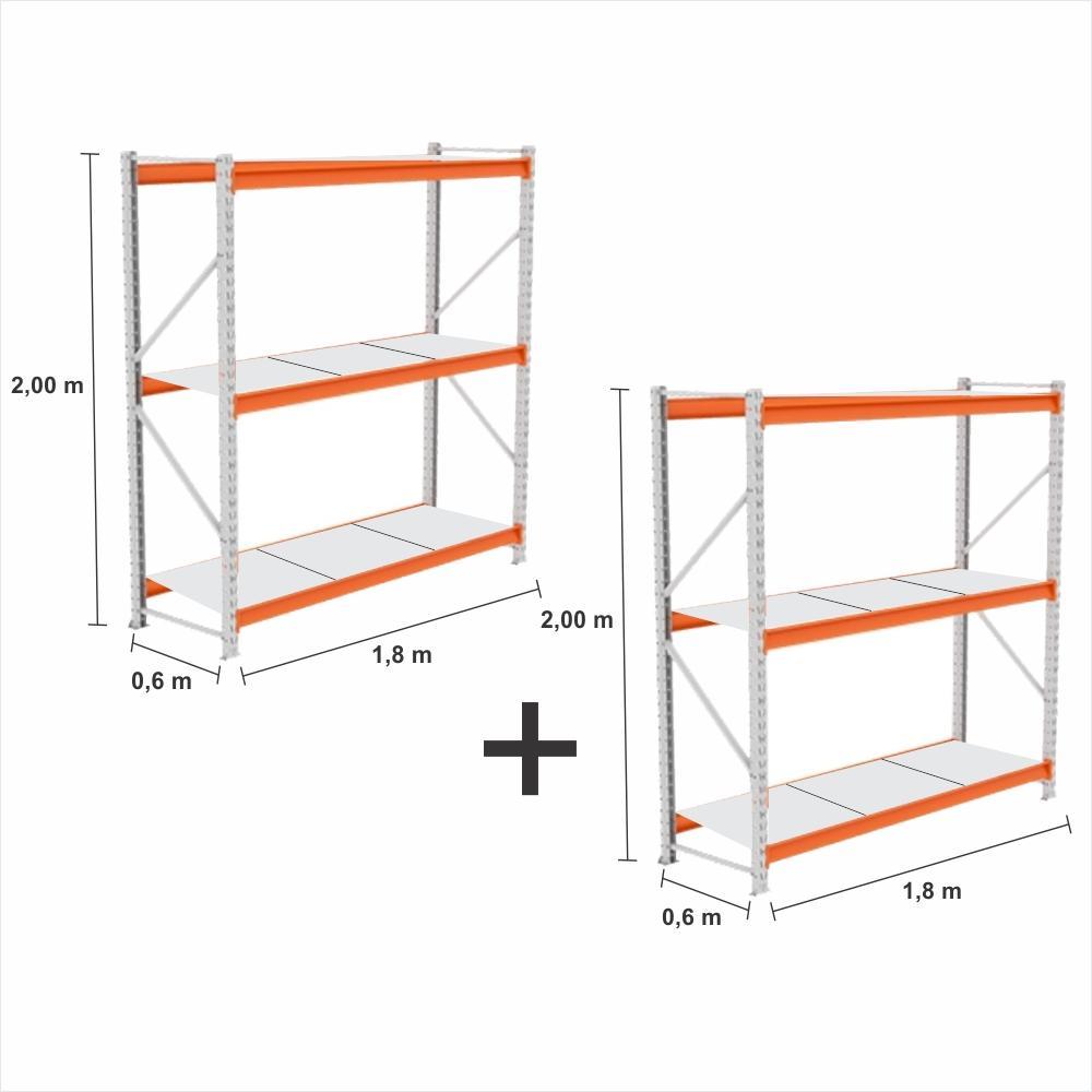 kit 2 Expositor Mini Porta Pallet 2 inic 250KG 3 niveis 2,00X1,80X0,60 bandejas MDF BRANCO