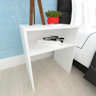 Mesa lateral sofá, mesa de canto, em mdf Branco