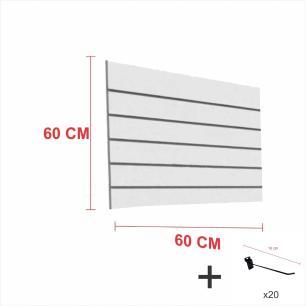 Expositor canaletado cinza alt 60 cm comp 60 cm mais 20 ganchos 10 cm