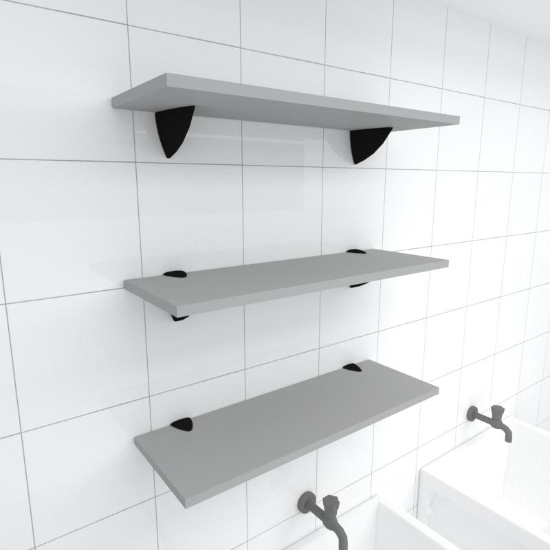 Kit 3 prateleiras para lavanderia em MDF suporte tucano cinza 60x20cm modelo pratlvc12