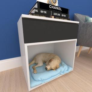 caminha criado cachorro cão gaveta mdf cinza preto