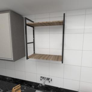 Prateleira industrial cozinha aço cor preto prateleiras 30cm cor amadeirado escuro mod ind10aec