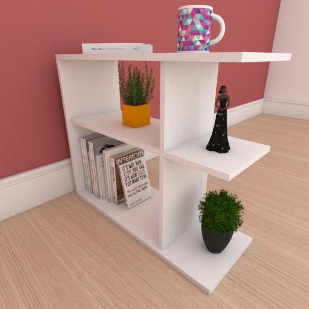 Estante de Livros compacta com prateleira em mdf branco