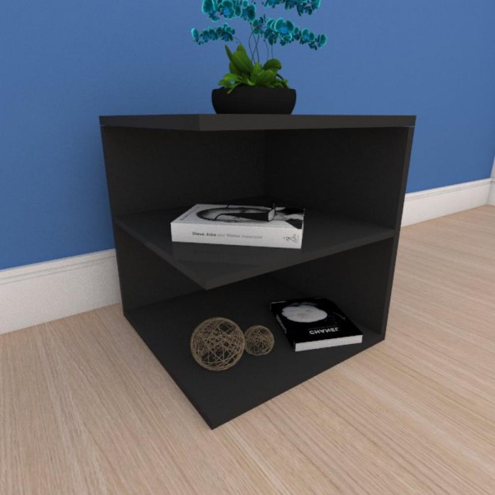Kit com 2 Mesa de cabeceira compacto com prateleiras em mdf preto