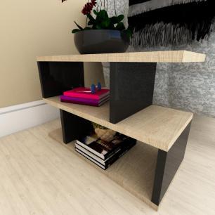 Mesa de cabeceira moderna amadeirado claro e preto