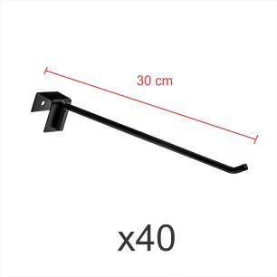 kit para expositor 40 ganchos 4mm preto de 30 cm para gondola para porta gancheira 20x20 e 20x40