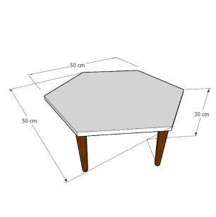 Mesa de Centro hexagonal em mdf preto com 4 pés retos em madeira maciça cor mogno