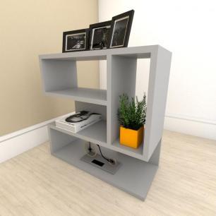 Estante escritório moderna com nicho em mdf Cinza