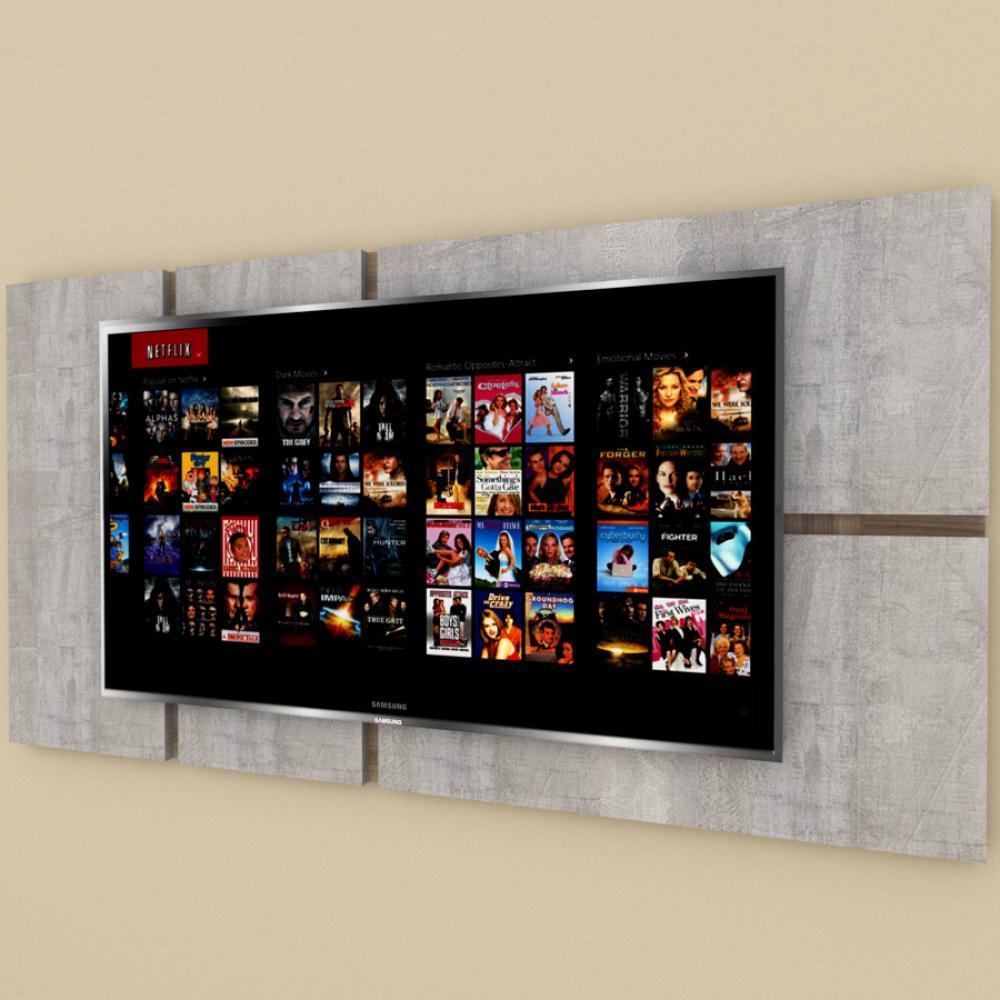 Painel Tv pequeno moderno rustico com amadeirado escuro