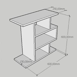 Mesa de cabeceira simples tripla em mdf preto