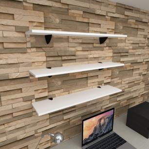 Kit 3 prateleiras para escritório em MDF suporte tucano branco 90x20cm modelo pratesb09