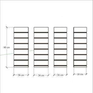 Kit 4 Painel canaletado para pilar vermelho escuro 2 peças 34(L)x90(A)cm + 2 peças 30(L)x90(A)cm