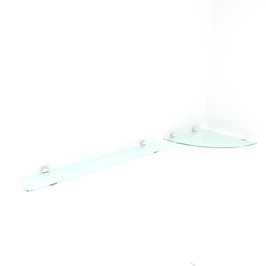 kit com 2 Prateleira de vidro temperado para escritorio 1 de 30 cm para canto e 1 de 60 cm reta